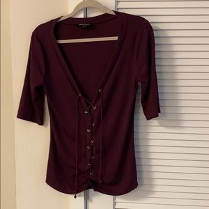 Nasty Gal Lace Up Fitted Shirt